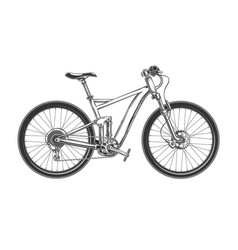Downhill cross country bicycle engraved vector