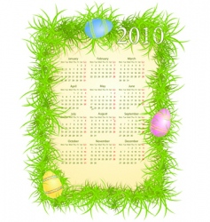 Easter calendar 2010 vector image vector image