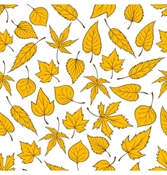 Falling yellow leaves seamless pattern background vector