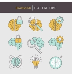 Flat line brainwork icons set vector