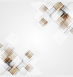 Geometric squares brown tech background vector