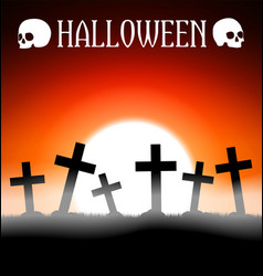Halloween graveyard with crosses vector