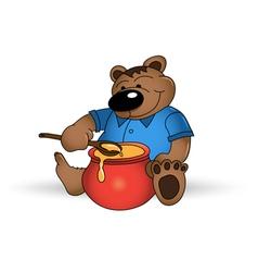 happy bear with honey pot vector image vector image