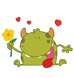 Happy Green Monster Holding A Yellow Flower vector image