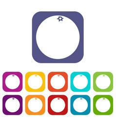 Mandarin icons set vector