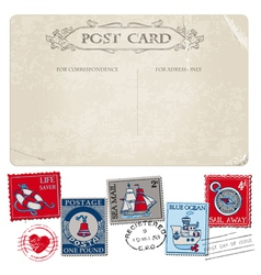 Nautical Postcard and Postage Stamps vector image vector image