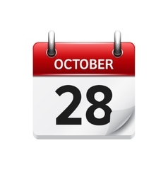 October 28 flat daily calendar icon date vector