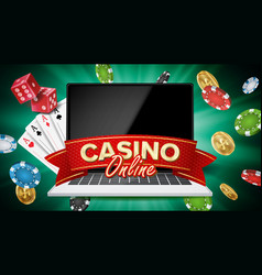 online casino banner realistic laptop vector image vector image