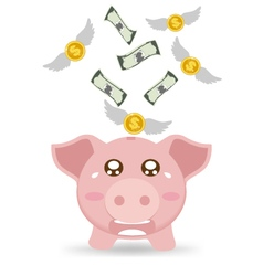 Piggy bank cry when see money flying away vector