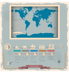Retro style world map with nautical design vector image vector image