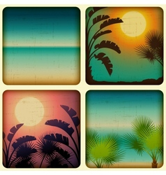 Retro tropical cards with seaside and palm trees vector