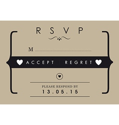 RSVP Wedding card mr and mrs theme vector image vector image