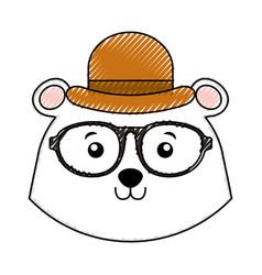 Scribble vintage bear face cartoon vector