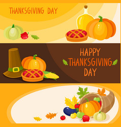 set of cartoon thanksgiving day banner templates vector image