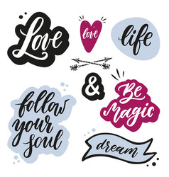 set of handwritten words and phrases with hand vector image vector image