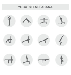 Set of icons Poses yoga asanas vector image