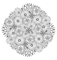 Unique mandala with flowers Ornamental vector image vector image