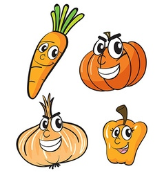 Vegetables with facial expressions vector image vector image