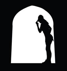 woman at the door vector image vector image