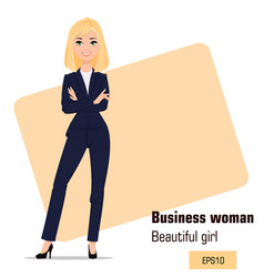 Young cartoon businesswoman standing with crossed vector