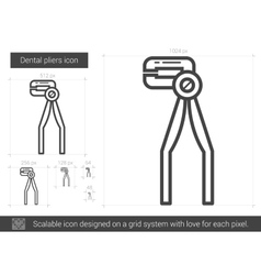 Dental pliers line icon vector