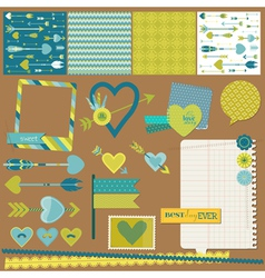 Scrapbook Design Elements - Love Heart and Arrows vector image