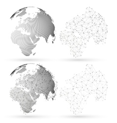 Dotted world globe with abstract construction vector image