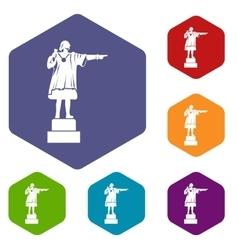 Columbus monument icons set vector