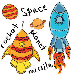 Drawn colored rockets on white vector