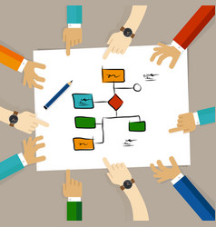 Flow chart process decision making team work on vector