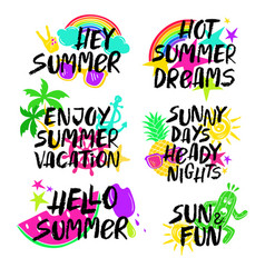Colorful set of summer lettering vector