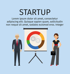 Startup infographic with business people vector