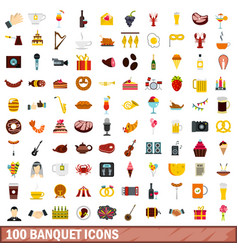 100 banquet icons set flat style vector