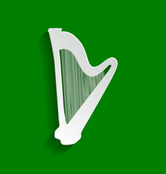 Musical instrument harp sign paper vector