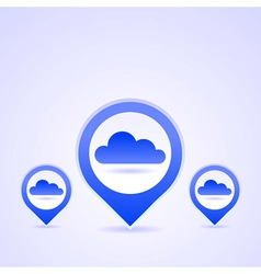 Blue cloud icon set vector
