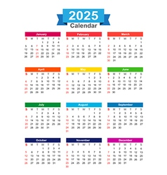 2025 Year calendar isolated on white background vector image vector image