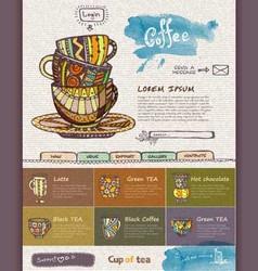 Web site design template decorative cup of coffee vector