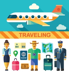 Flat icon set and travel vector