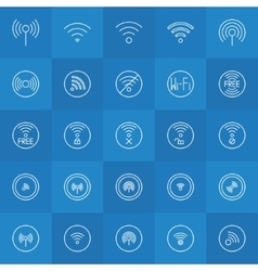 Set of thin line wi-fi icons vector