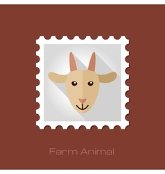 Goat flat stamp animal head vector