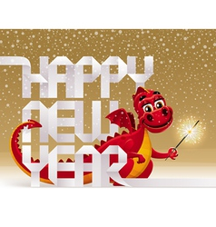 Red christmas dragon with a sparkler vector
