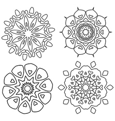 Black and white abstract lace flowers vector