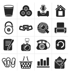 Black website and internet icons vector