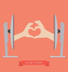 Couple hands making up heart shape from two vector