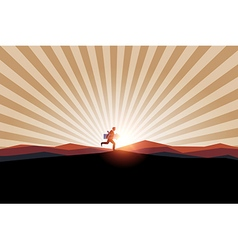 Businessman holding arrow on mountain background vector image