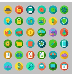 Round flat icons set with concepts of business vector
