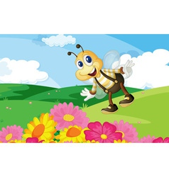 Bee in the field vector