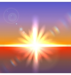 Sun over horizon with lens flares vector