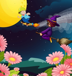 A boy and witch flying vector