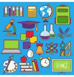 A set of school and education icons vector image